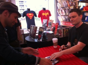 My very first signing caught in camera (that's Scott Snyder on the right)