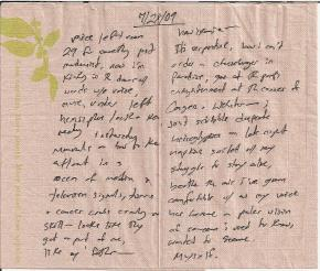 Sometimes the texture of a napkin is more conducive to a decent poem than a page from my Moleskine.