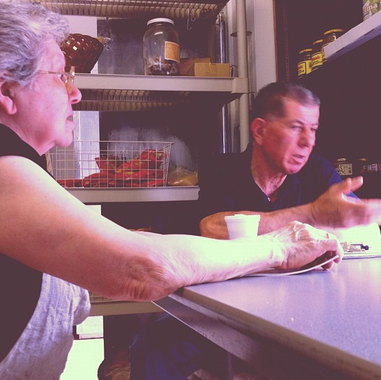 Maria talks to her friend Andreas at Liberty Brand.