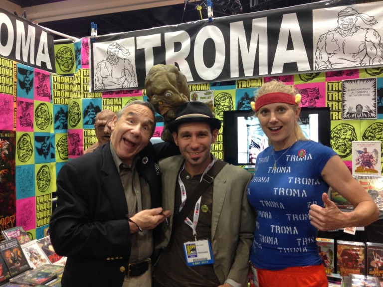 That's the legendary Lloyd Kaufman, myself, and Megan Silver hanging out at the Troma booth.