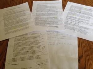And this is the last draft, complete with the notes that helped create the final draft.
