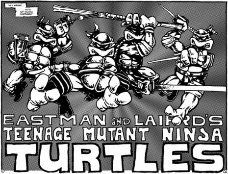 The first appearance of Leo, Don, Raph and Mike.